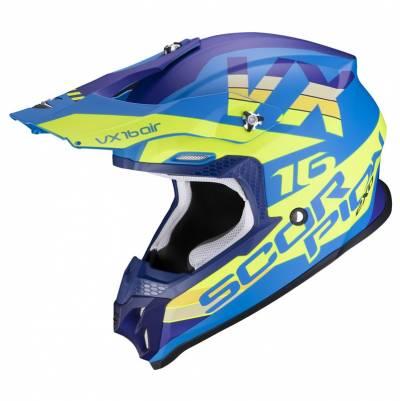 Scorpion Crosshelm VX-16 Air X-Turn, blau-fluogelb matt