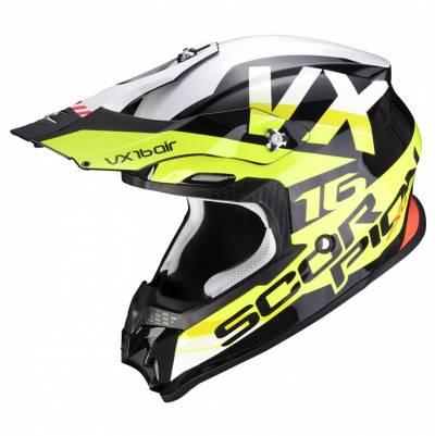 Scorpion Crosshelm VX-16 Air X-Turn, schwarz-fluogelb-weiß
