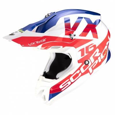 Scorpion Crosshelm VX-16 Air X-Turn, weiß-rot-blau