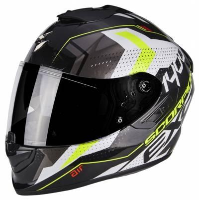 Scorpion Helm EXO-1400 Air Trika, schwarz-weiß-fluogelb