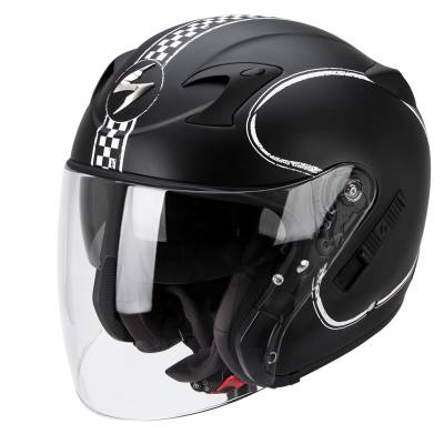 Scorpion Helm Exo-220 Bixby, schwarz-weiß-matt