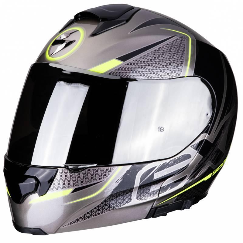 Scorpion Helm Exo-3000 Air Creed, titan-schwarz-fluogelb