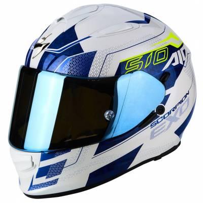 Scorpion Helm Exo-510 Air Galva, weiß-blau-fluogelb