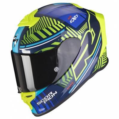 Scorpion Helm EXO-R1 Air Victory, blau-fluogelb