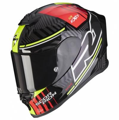Scorpion Helm EXO-R1 Air Victory, schwarz-rot-fluogelb