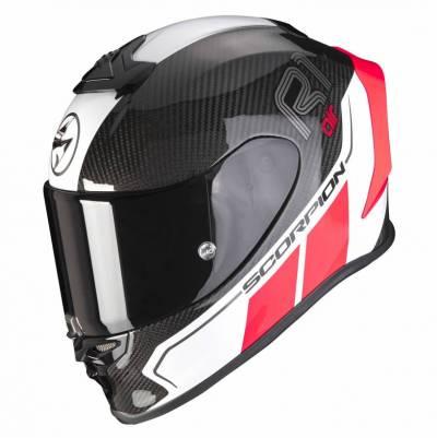 Scorpion Helm EXO-R1 Carbon Air Corpus II, schwarz-fluo rot weiß