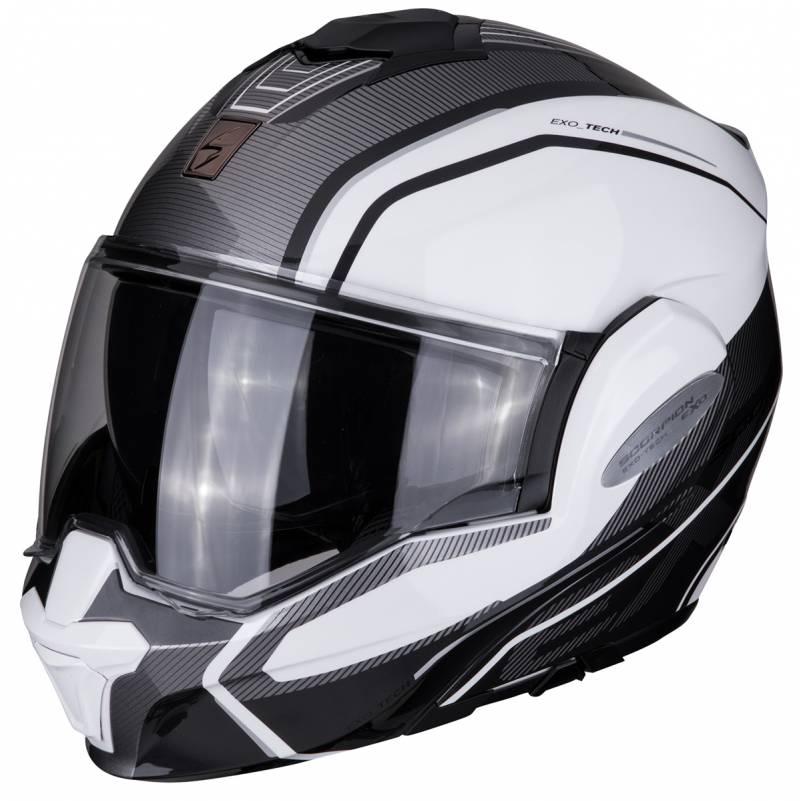 Scorpion Helm EXO-Tech Time Off, weiß-schwarz-silber