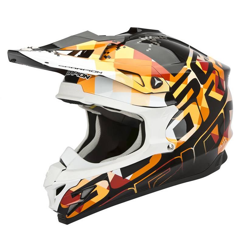 Scorpion Helm VX-15 Evo Air Grid, schwarz-weiß-orange