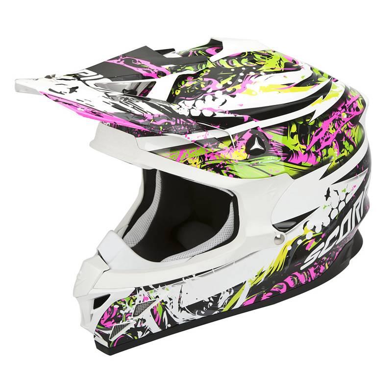 Scorpion Helm VX-15 Evo Air Horror, weiß-schwarz-pink-grün