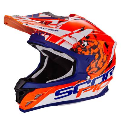 Scorpion Helm VX-15 Evo Air Kitsune, orange-blau-weiß