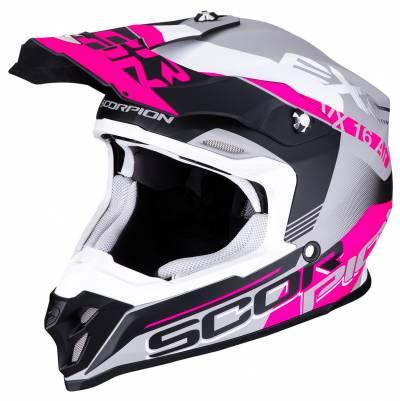 Scorpion Helm VX-16 Air Arhus, schwarz-pink-silber matt