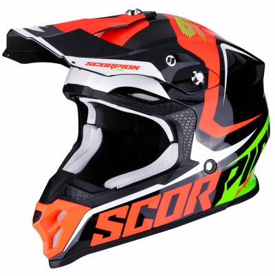 Scorpion Helm VX-16 Air Ernee, schwarz-fluorot-grün