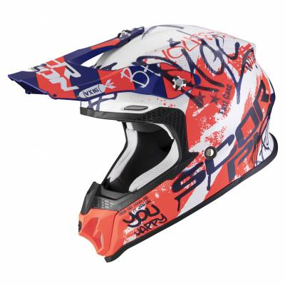 Scorpion Helm VX-16 Air Oratio, weiss-blau-rot matt
