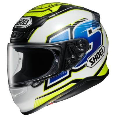 Shoei Helm NXR Cluzel TC-3, gelb-weiß-blau-schwarz