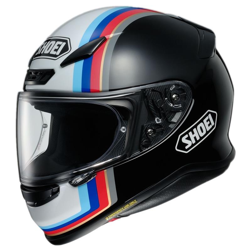 Shoei Helm NXR Recounter TC-10, schwarz-weiß-blau-rot