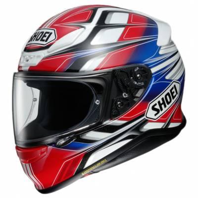 Shoei Helm NXR Rumpus TC-1, rot-blau-schwarz-weiß