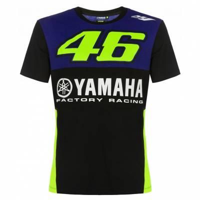 VR46 Herren T-Shirt Yamaha, schwarz-blau-fluogelb