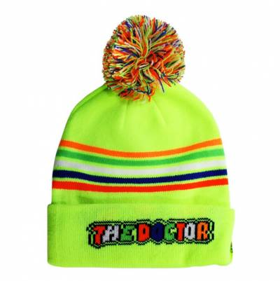 VR46 Strickmütze Stripes Kid Fluo Yellow