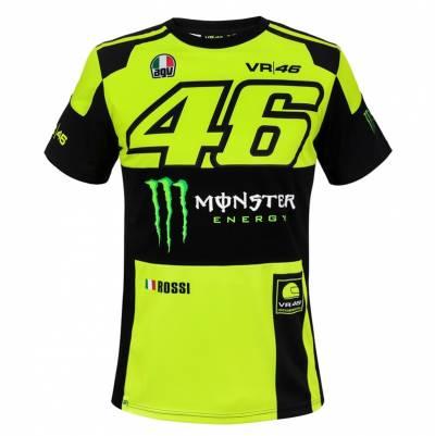 VR46 T-Shirt Monster Replica, schwarz-neongelb